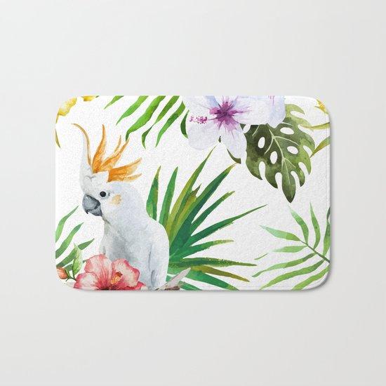Tropical Bird Pattern 03 Bath Mat
