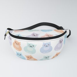 funny fat cats, pastel colors on white background Fanny Pack