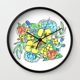 Yellow and Blue Spring Floral Watercolor Wall Clock