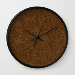 Clockwork Retro / Cogs and clockwork parts lineart pattern in brown and gold Wall Clock