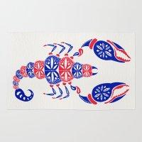 patriotic Area & Throw Rugs featuring Patriotic Scorpion by Cat Coquillette