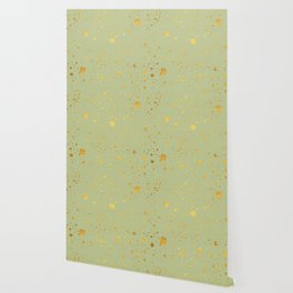Gold leaf hand drawn dot pattern on light green Wallpaper