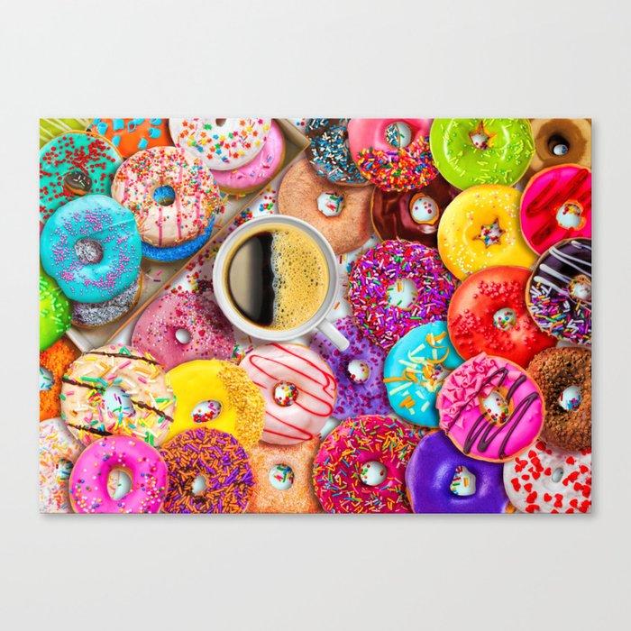 Donuts & Coffee Canvas Print
