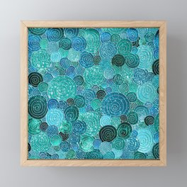 Abstract blue& green glamour glitter circles and dots for Girls and ladies Framed Mini Art Print