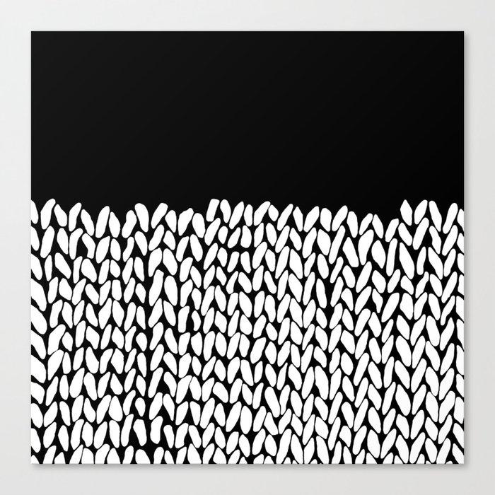 Half Knit  Black Canvas Print