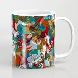 FETE various shapes pale blue gold red abstract design Coffee Mug