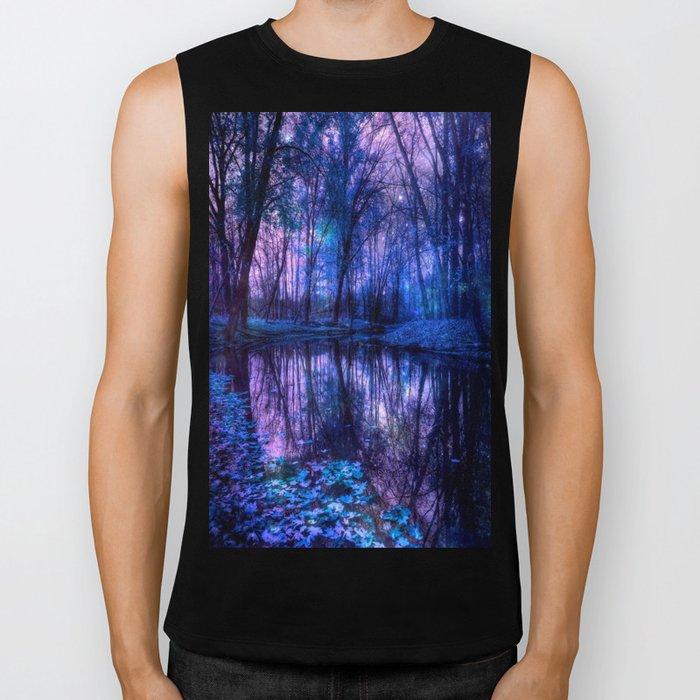 Enchanted Forest Lake Purple Blue Biker Tank