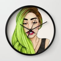 lady Wall Clocks featuring Lady Neon by Helen Green
