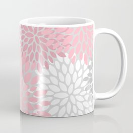 Modern Flower Garden, Pink and Gray, Floral Prints Coffee Mug