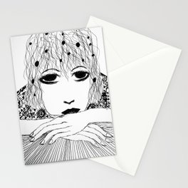 The girl who is bored Stationery Cards