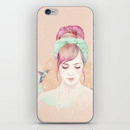 Pink hair lady iPhone Skin