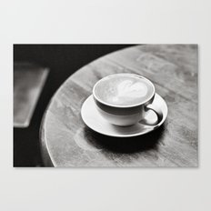 white coffee heart Canvas Print