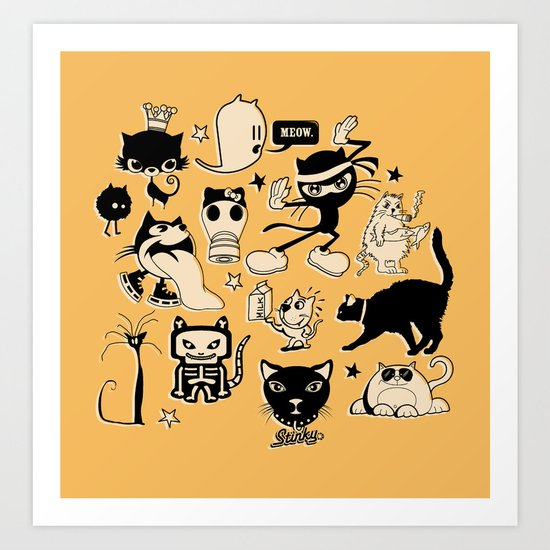 Cat Menagerie Art Print