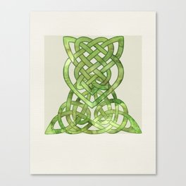Celtic Knot:  Green Watercolor with complex form - Ireland - traditional folk art Canvas Print