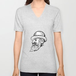Hipster Wearing Bowler Hat Etching Black and White Unisex V-Neck