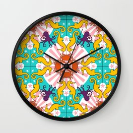 Kaleidoscopic Ocean Animals Wall Clock