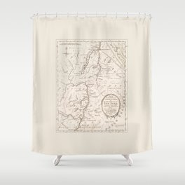 Vintage British Map of Lake George Area Shower Curtain