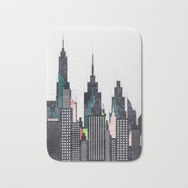 Colorful City Buildings And Skyscrapers Sketch, New York Skyline, Wall Art Poster Decor, New York Bath Mat