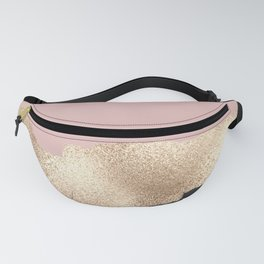 Rose Gold Glitter Black Pink Abstract Girly Art Fanny Pack