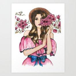 cherry blossom girl Art Print