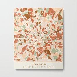 LONDON ENGLAND CITY MAP EARTH TONES Metal Print