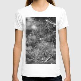 Spiderweb in Black and White Bokeh Nature Background #decor #society6 #buyart T-shirt