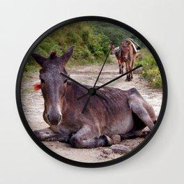 Resting Mule on Annapurna Trekking Path Wall Clock