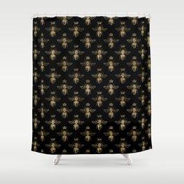 Black & Gold Queen Bee Pattern Shower Curtain