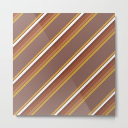 70's Diagonal Stripe in Earthtones Metal Print