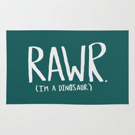 Rawr. I'm a Dinosaur. Turquoise. Rug