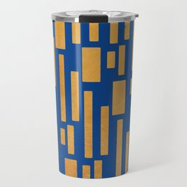 Abstract Bamboo Dark Blue Gold Mid-Century Modern Travel Mug