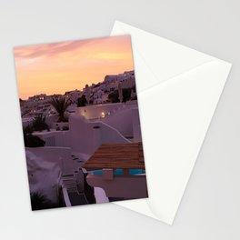 Oia, Santorini Greece at Sunset Stationery Cards