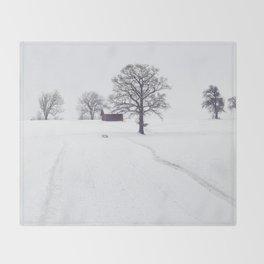 Rural Winter Landscape Throw Blanket