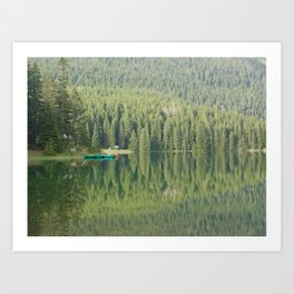 Green water reflection with a boat Art Print