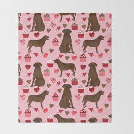 Chocolate Labrador Retriever valentines day cupcakes love hearts dog gifts labs Throw Blanket