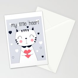 CAT CARTOON WITH HEART Stationery Cards