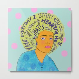 Good Morning Heartache//Billie Holiday, Lyrics Art Print, Music Lettering Illustration  Metal Print