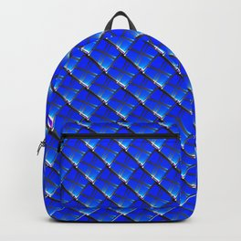 Vintage square tile made of blue rhombuses with white gaps. Backpack