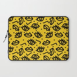 Face Time - retro throwback minimal pattern eyes faces 1980s 80s vintage memphis drawing monochrome Laptop Sleeve