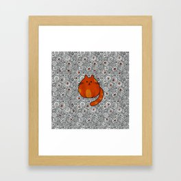 Cute Ginger Cat - Stained glass and swirls Framed Art Print