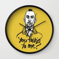 taxi driver Wall Clocks featuring Taxi Driver by Dave Flanagan