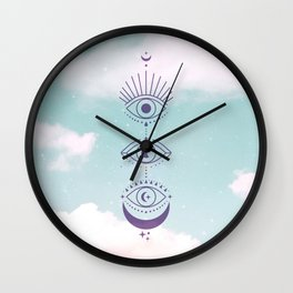 Eyes Moon Phases Cloudy Wall Clock