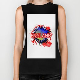 England Red White And Blue Cartoon Exclamation Biker Tank