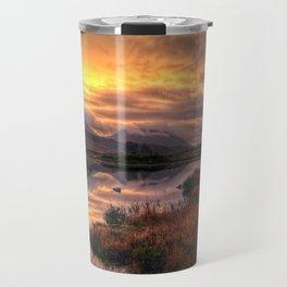 Golden Sunrise Over Loch Ba Travel Mug