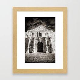Black & White/Sepia-toned photograph of the Alamo, in San Antonio, TX Framed Art Print