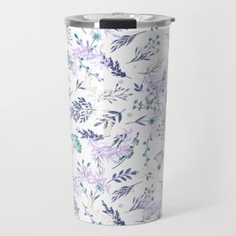 Botanical navy blue lilac watercolor summer floral Travel Mug