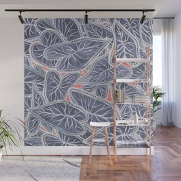 Tropical Caladium Leaves Pattern - Purple Gray Coral Wall Mural