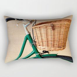 Vintage green bicycle with basket and textured background  Rectangular Pillow