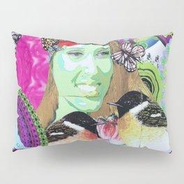 Woman portrait bird butterfly Pillow Sham