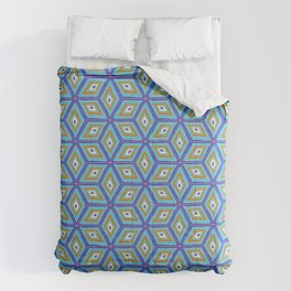 Blue and Gold Tilted Cubes Pattern Comforters